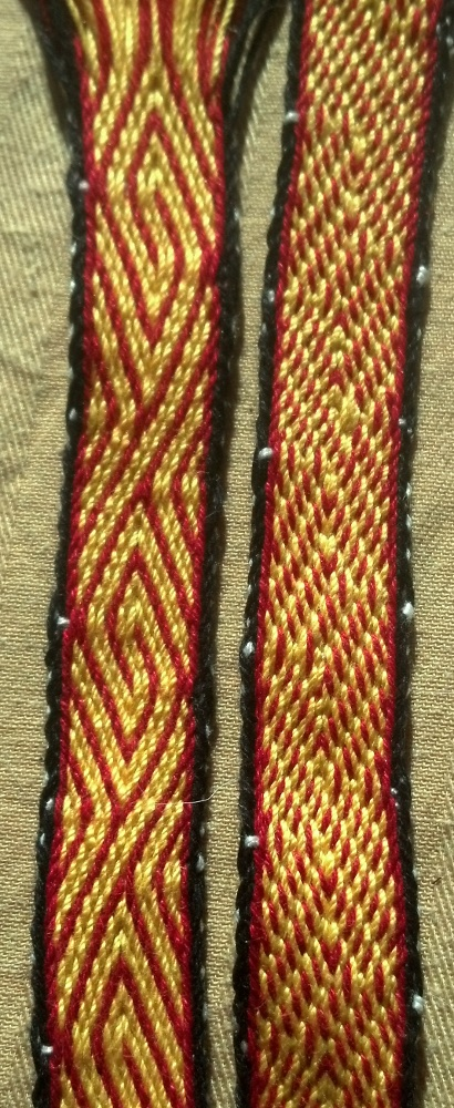 Red Yellow Missed-Hole Tablet Weaving Spiral