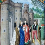Detail of a miniature of the Castle of Love, with the lover addressing three women. Origin:	England, S. E. (London) and Netherlands, S (Bruges) Attribution:	Master of the Prayer Books of circa 1500 Last decade of the 15th century