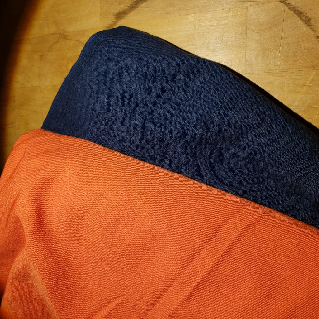 Cobalt and Coral fabric color combination